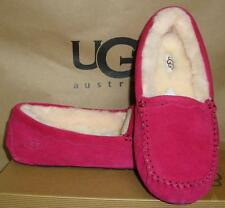 UGG Australia SCALLOPED Burgundy Wine Suede Sheepskin Mocassins Shoes Size 8 NIB