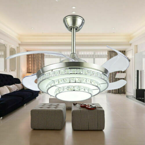 """42/""""//44/""""Remote Control Crystal LED 3-Color Chandelier Invisible Ceiling Fan Light"""