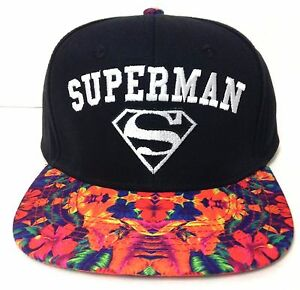 a0110edf778  24 SUPERMAN SNAPBACK HAT Black White w Colorful Floral Flat-Bill ...