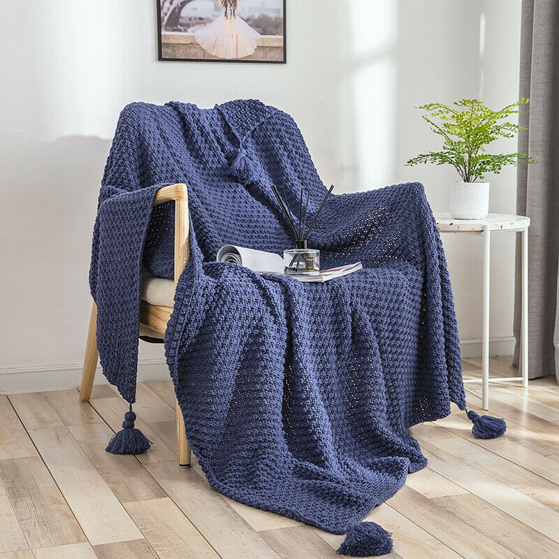 Cotton Tassels Blanket Knitted Throw Sofa Bed Crochet Acrylic Rug Home Decor New