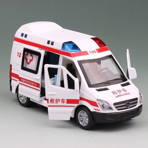 1:36 Scale Ambulance Metal Car Model Pull Back Hospital Rescue Vehicle Boy