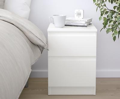 Ikea Kullen Commode Blanc Et Chene A 2 Tiroirs Meubles De Chambre Ebay
