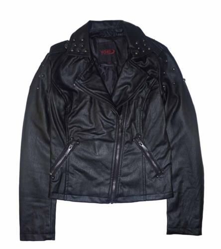 Yoki Big Girls Black Faux Leather Moto Jacket Size 7 8//10 12//14 16 $92