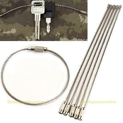 5PCS Stainless Steel Wire Keychain Cable Key Ring for Outdoor Hiking