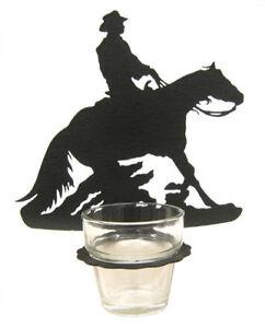 Barrel racing black metal votive candle holder