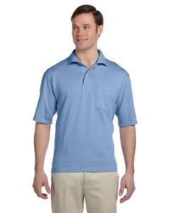 Jerzees-Polo-Shirt-Men-039-s-Short-Sleeve-5-6-oz-50-50-Jersey-Pocket-SpotShield-436P