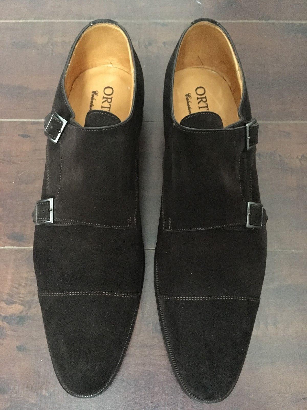 BNIB ORTIGNI Uomo's Dark Brown Suede Cap Toe Double monk strap Loafers –   11-D,