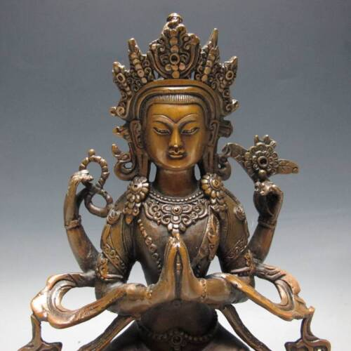EXQUISITE CHINESE COPPER HANDWORK CARVED FOUR ARM BUDDHA STATUE