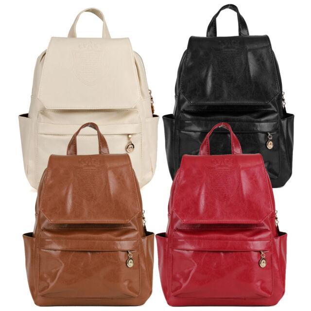 Girls Women Backpack PU Leather Travel Rucksack Handbag Shoulder School Book Bag