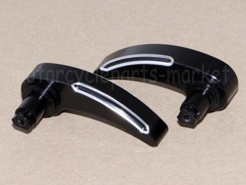pair Edge Cut Black Saddlebag Lid Lifter Latch Handle Lever Harley 14-18 15 16