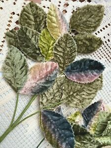 Millinery Velvet Leaves Green Moonlight 1 Spray