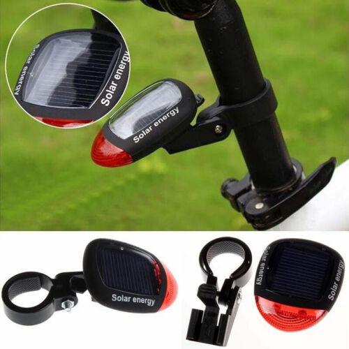 Solar Powered Bicycle Bike Rear Back Safety Light 3 Lamp Rot Tail Function U0U2