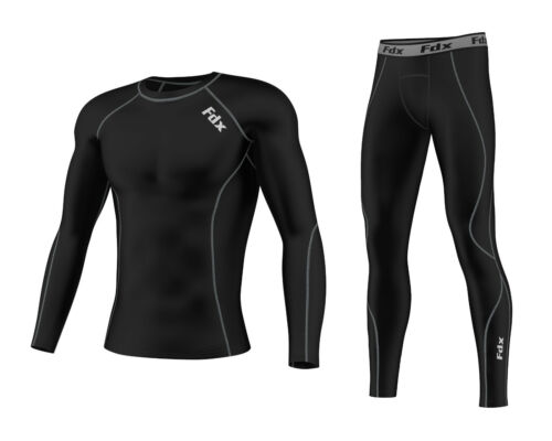 FDX Mens Compression Armour Base layer Top Skin Fit compression Leggings set