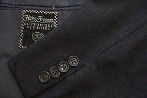 Hickey Freeman Boardroom Gray Blue Striped Wool 2 Pc Suit Jacket Pants Sz 42L