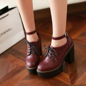 NC-Women-Punk-Lace-up-Buckle-Knight-Mid-Chunky-Heel-Pumps-PU-Leather-Boots-Shoes