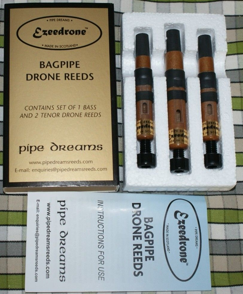 Ezeedrone Drone Reeds InGrüned Tenors and Bass pipes bagpipe Pipe Dreams