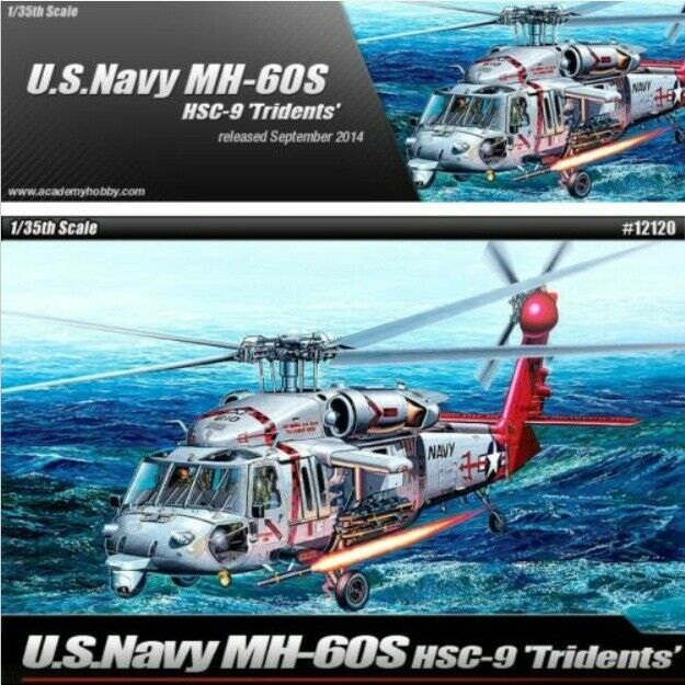 Academy 1 35 Plastic Model Kit US Navy MH-60S HSC-9 TRIDENTS Hobby Toy