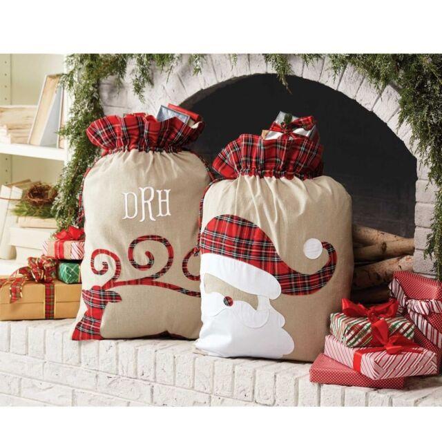 mud pie mh6 christmas deck the hall tartan home decor or gift bag sacks 4264327