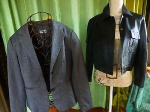 lot-T-M-42-blouson-cuir-veste-grises-a-chevrons-mi-ceintree-a-saisir-femme