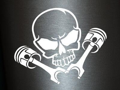 1 x Aufkleber Totenkopf Kolben Skull Turbo Sticker Tuning Autoaufkleber Fun Gag