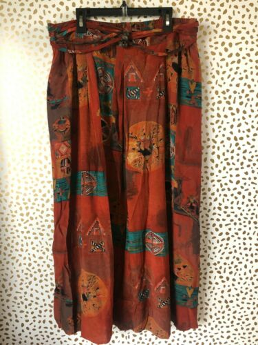 Vintage Claire McCardell art to wear aztec maxi sk
