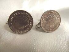 WOW Vintage Silver JULIANA KONINGIN DER NEDERLANDEN Coin CLIP Earrings 15CE48