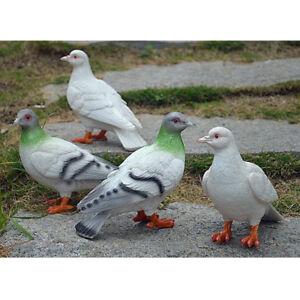 1-paire-Oiseaux-Artificiels-Pigeon-Statues-Decor-Sculptures