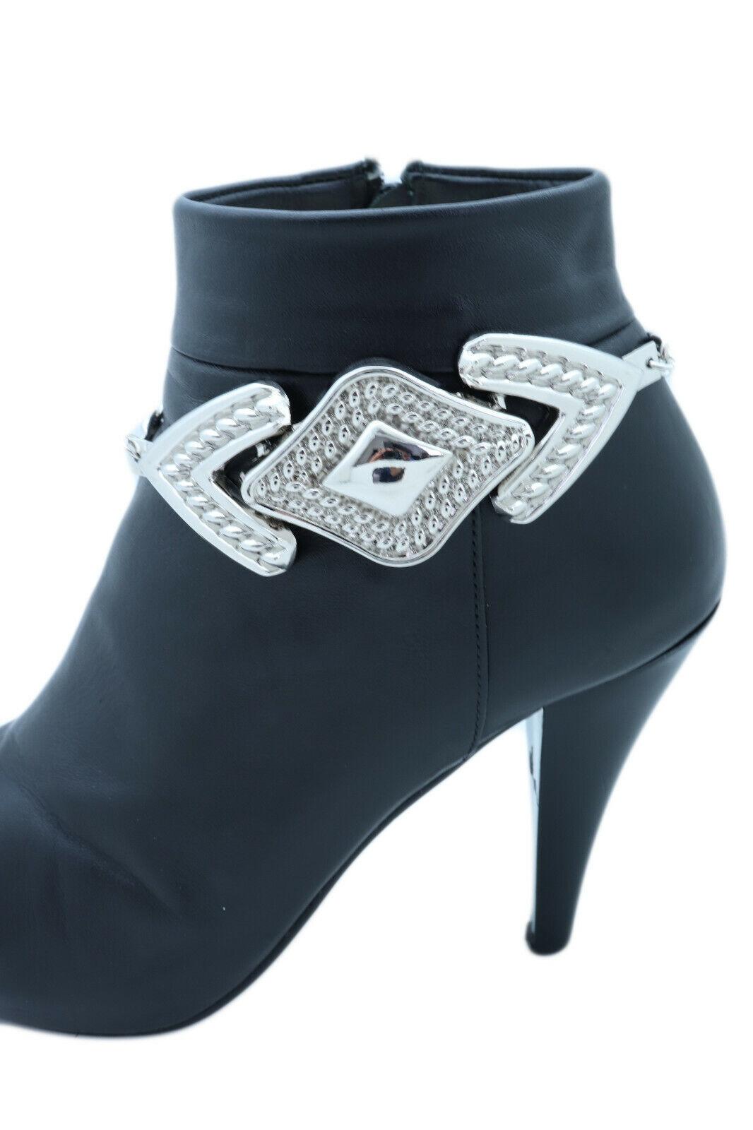 Women Silver Metal Chain Boot Bracelet Shoe Arrow Head Charm Stylish Collection