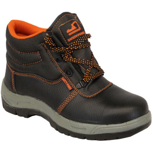 mens leather safety power boots steel toe high top work lace up casual shoes new