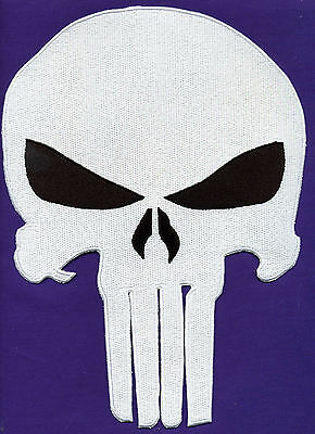 The Punisher White Skull Logo Large Jacket Embroidered Patch NEW UNUSED