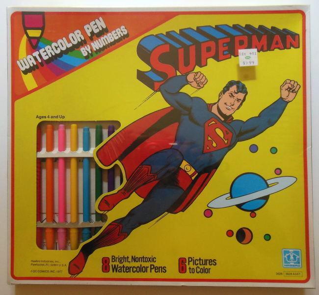 Con 100% de calidad y servicio de% 100. súperman Acuarela por números set set set SEALED Hasbro PEN 1977 Menta en caja  echa un vistazo a los más baratos