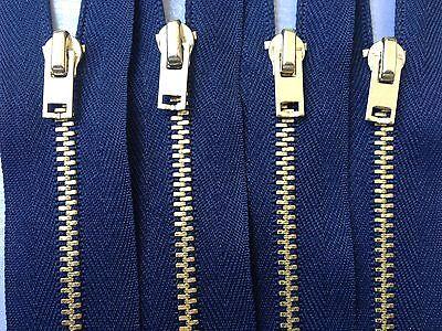 Reißverschluss marineblau 16cm für Hosen 4mm Metallzähne brüniert