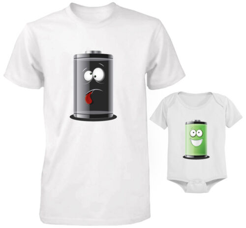 ENERGY EMPTY FULL Funny Cute Daddy and Baby Matching T-Shirt and Bodysuit Set