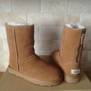 1f6eef20596 Details about UGG Classic Short Zip Chestnut Suede Sheepskin Boots Size US  11 Womens