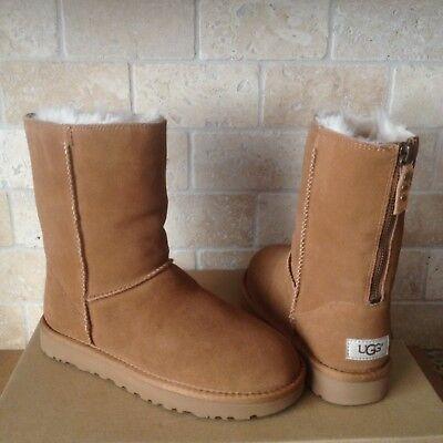 0dd80fbdc27 UGG Classic Short Zip Chestnut Suede Sheepskin Boots Size US 11 Womens |  eBay