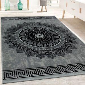 Tapis-De-Createur-Salon-Motif-Mandala-Poils-Ras-Style-Baroque-Gris-Noir
