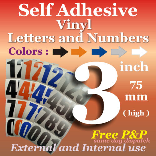Window*Five Colors* Permanent 24 Vinyl Sticky Numbers*3 inch *Self-Adhesive