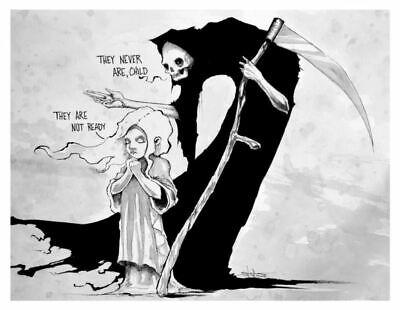 Life and Death Grim Reaper Morbid Art Dark Scary Creepy Artwork Poster 8.5x11