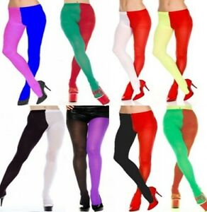 eea33eed96ca4 Two Tone Court Jester Tights Harlequin Red Green Black Purple Elf ...
