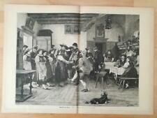 Heimatlieder Holzstich von Franz von Defregger Zither Hausmusik Tracht P 0147