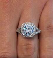 3.50 CT ROUND F/VS1 CUSHION HALO DIAMOND ENGAGEMENT RING 14K WHITE GOLD ENHANCED