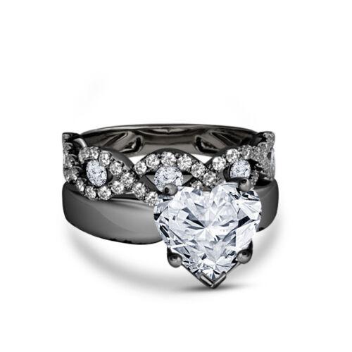 Women/'s 10k White Gold Fn 2.00 Ct Heart Shape Diamond Engagement Bridal Ring Set