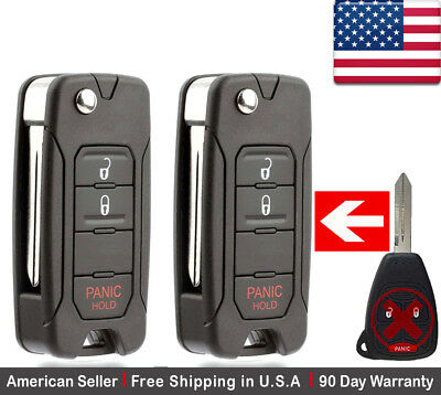 2x New Replacement Keyless Entry Remote Control Key Fob For Chrysler and Jeep