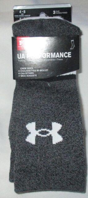 Under Armour Phenom CREW Men-Women Socks LARGE 3-Pair MultiColor Wick Moisture
