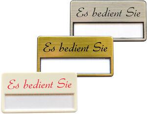 goldfarbig weiss Namensschilder incl Gravur mit Magnet oder Nadel silber