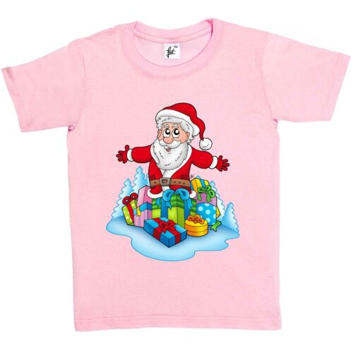 Girls T-Shirt Father Christmas with Gifts /& Presents Kids Boys