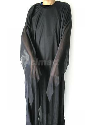 Halloween Funny Solid Black Ghost Robe Gown Polyester Costume Party Fancy Dress