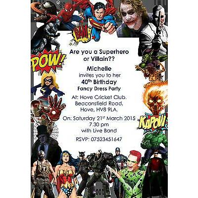 10 Personalised Superhero or Villain Birthday Invitations Fancy Dress Party