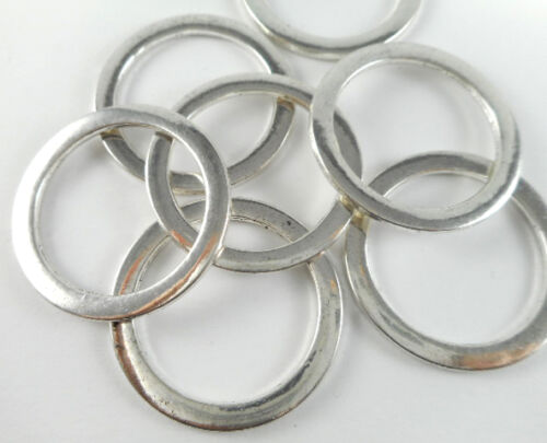 10 Silver Plated Circle Closed Links Findings 65840