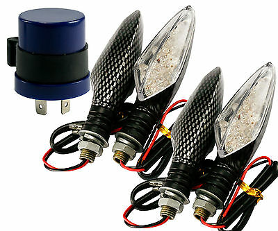 4PCS 12V 16LED MOTORCYCLE MOTORBIKE TURN SIGNAL INDICATOR LIGHTS+FLASH RELAY Q52